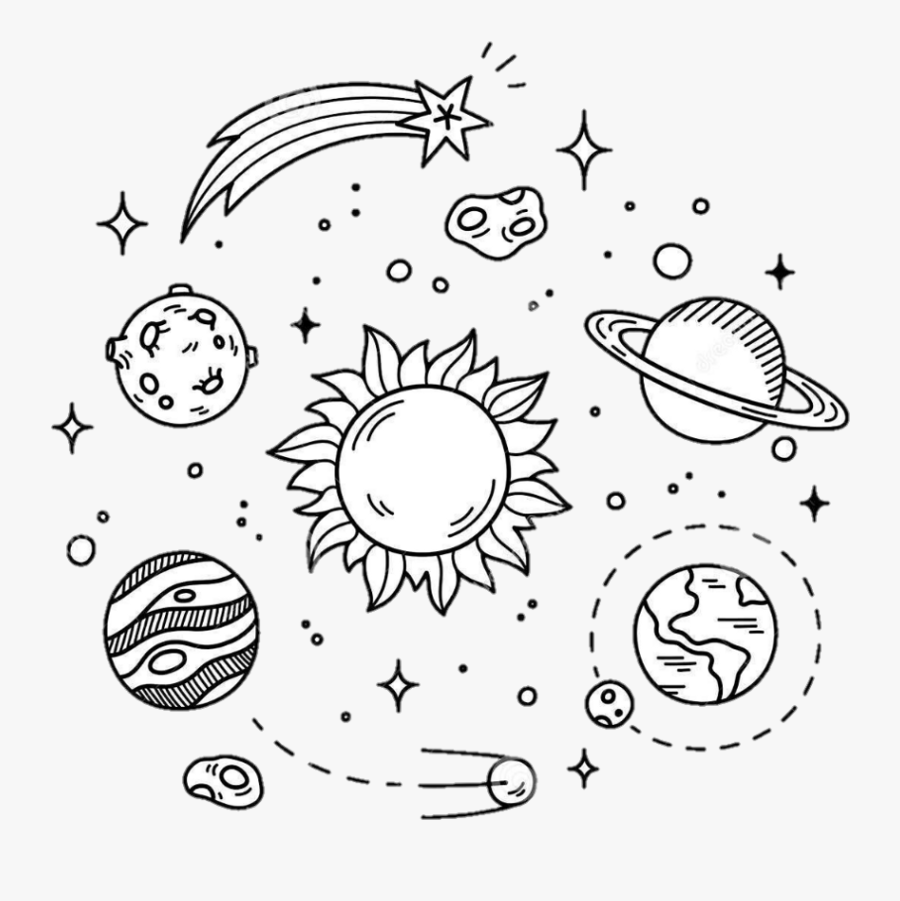 Clip Art Drawings Of Space - Black And White Planet Sticker, Transparent Clipart