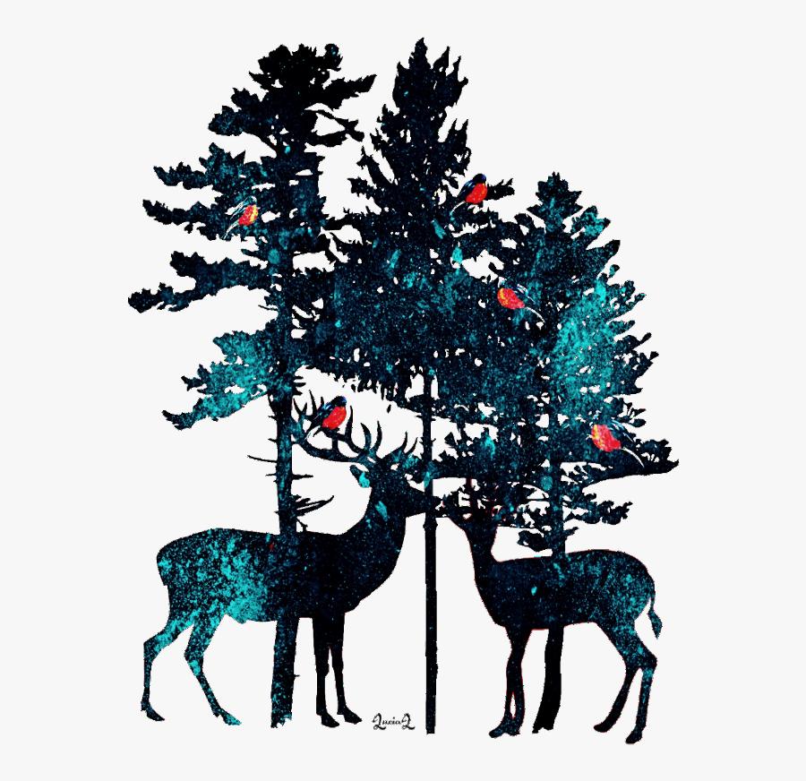 #deer #winter #pines - Jack Pine Tree Silhouette, Transparent Clipart