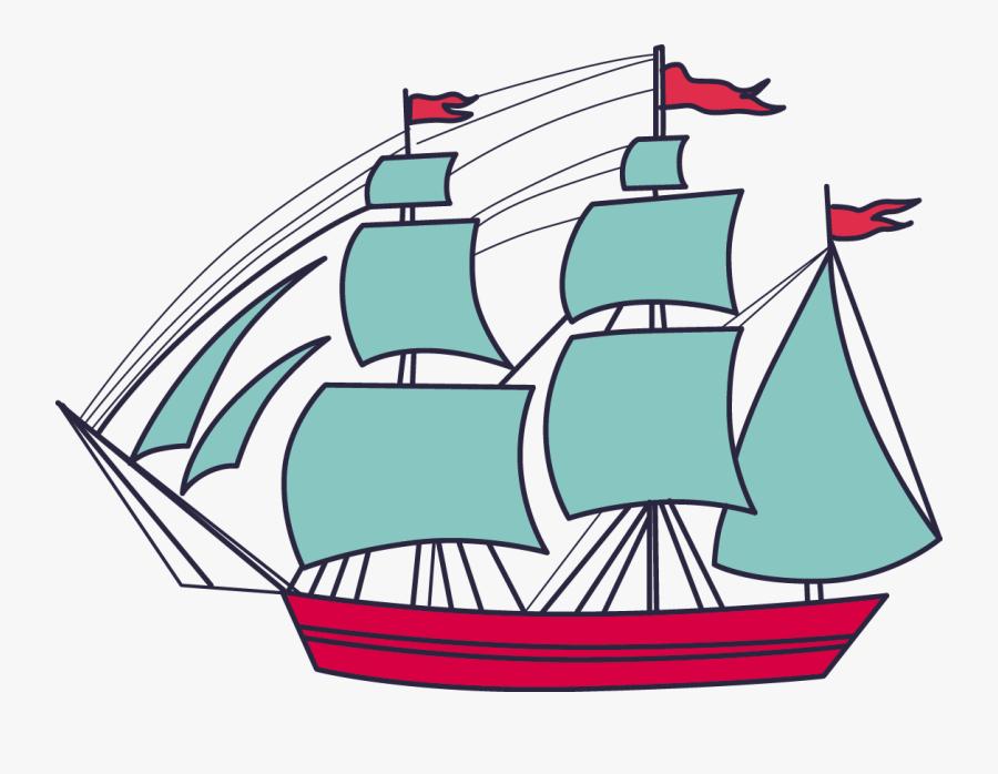 Sailing Ship Clipart Ice Cream - Ship, Transparent Clipart