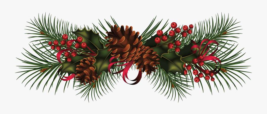 Christmas Garland Wreath Clip Art - Christmas Pine Cones Png, Transparent Clipart