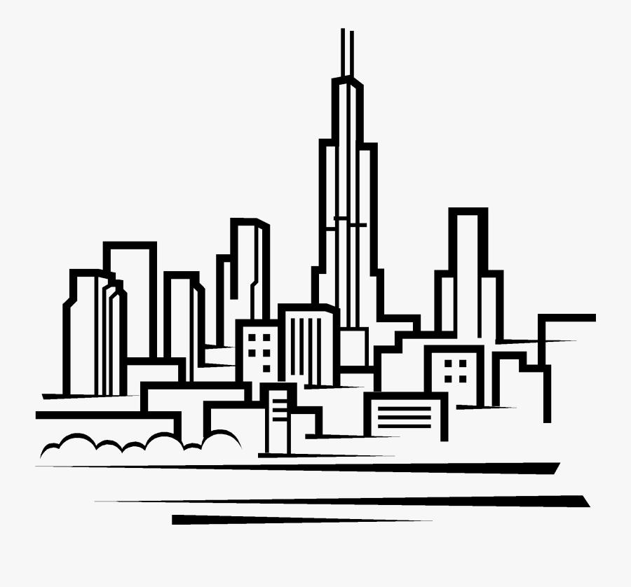 Transparent Austin Skyline Clipart - Chicago City Drawing Easy, Transparent Clipart