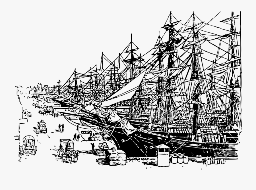 Sailing Ship Clipart Book - Black And White Ship Dock, Transparent Clipart