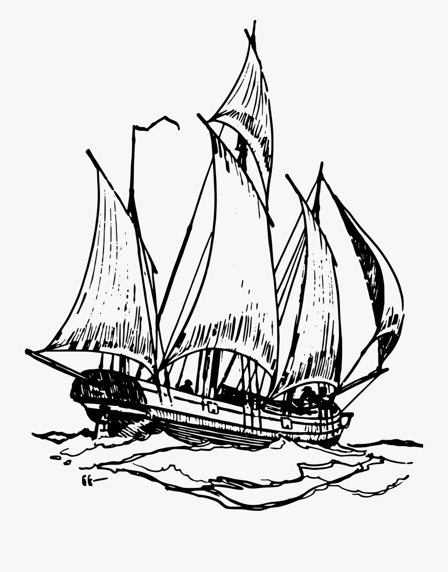 Simple Pirate Ship Drawing At Getdrawings - Ship On Water Drawing, Transparent Clipart