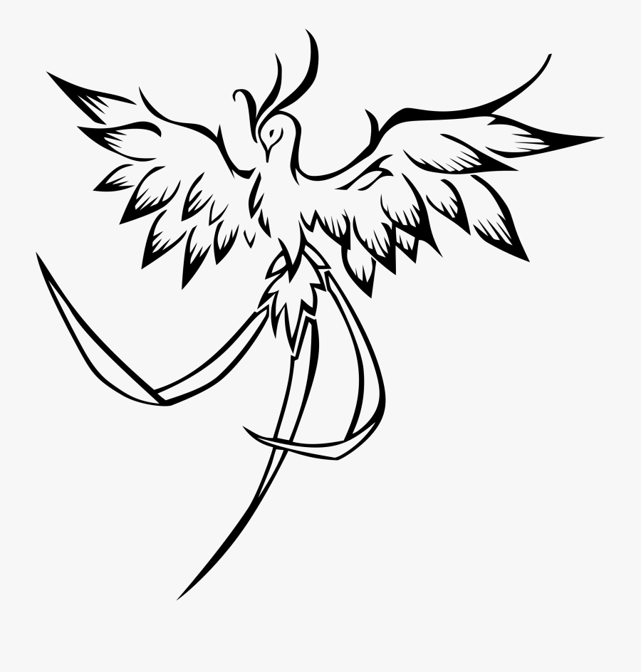 Cliparts For Free Download Line Clipart And Use - Phoenix Bird Drawing Easy, Transparent Clipart