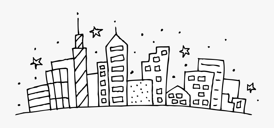 Cityscape Coloring Page Free Clip Art - City Clipart Black And White, Transparent Clipart