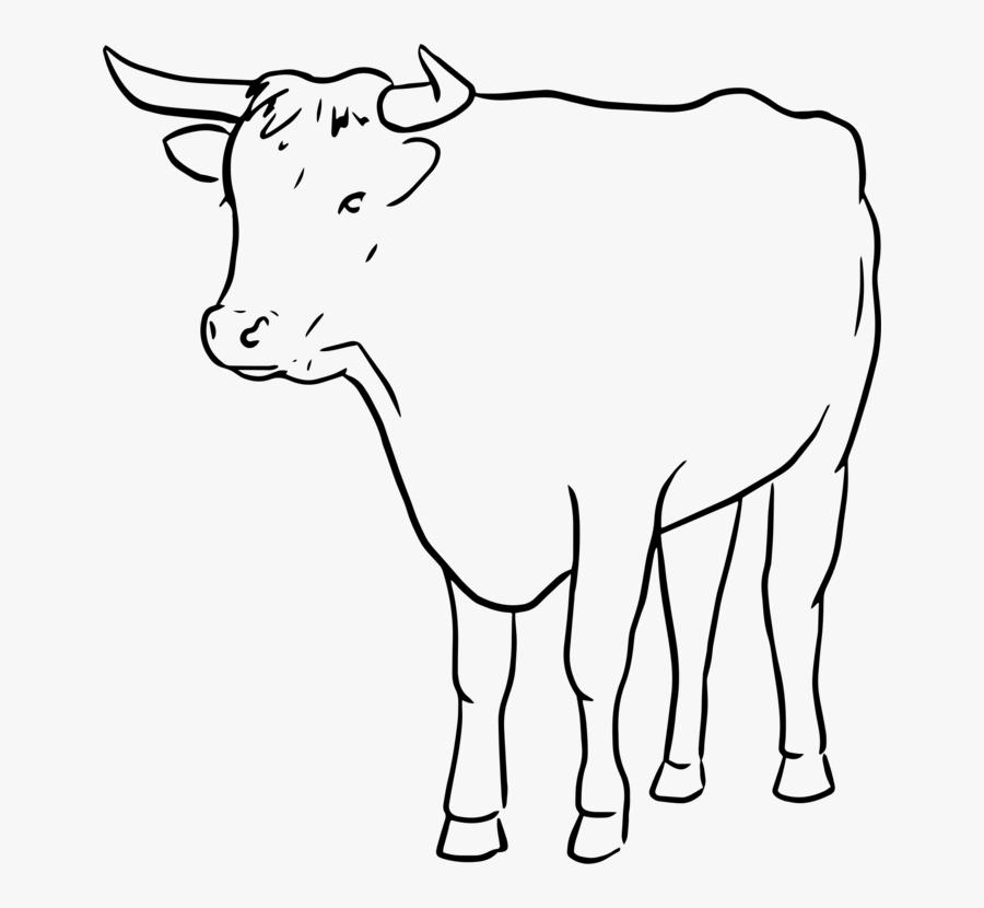 Monochrome - Bull Line Art, Transparent Clipart