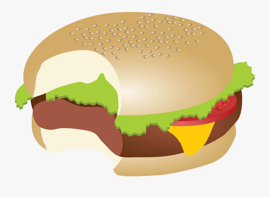 Food,clip Art,junk King Grilled Chicken Food,veggie - Hamburger With Bite Clipart, Transparent Clipart
