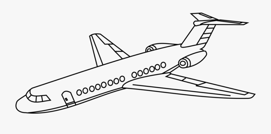 Line Art,angle,area - Jet Airplane Line Drawing, Transparent Clipart