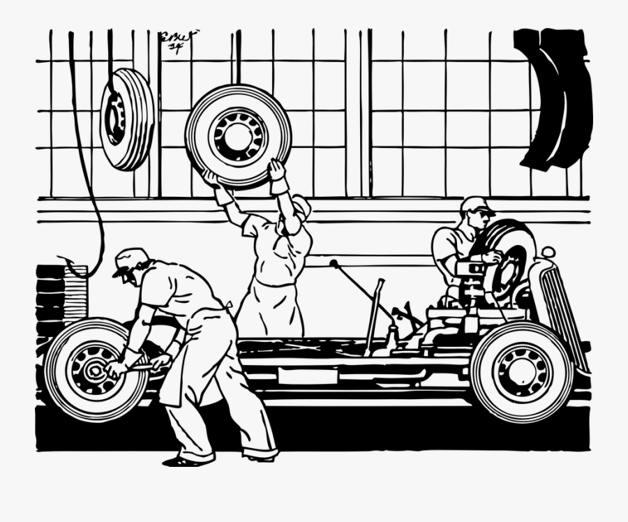 Factory Plant Assembly - Assembly Line Car Drawing, Transparent Clipart