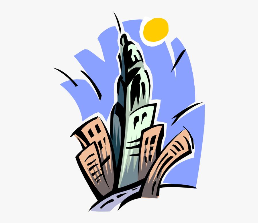 Vector Illustration Of Urban Metropolitan City Skyline - Empire State Building Graphic, Transparent Clipart