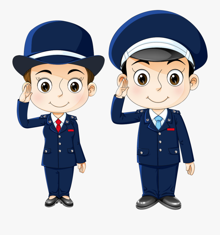 Public Security Police Officer Cartoon Free Download - Policeman And Policewoman Clipart, Transparent Clipart