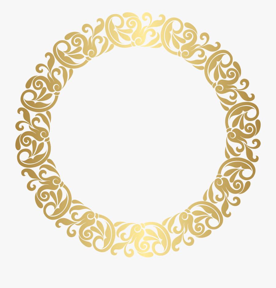 Flourish Clipart Christmas - Border Gold Circle Design Png, Transparent Clipart