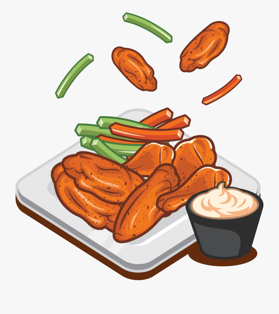 Buffalo Wing Sausage Fried Chicken Fast Food - Cartoon Chicken Wings Clipart, Transparent Clipart