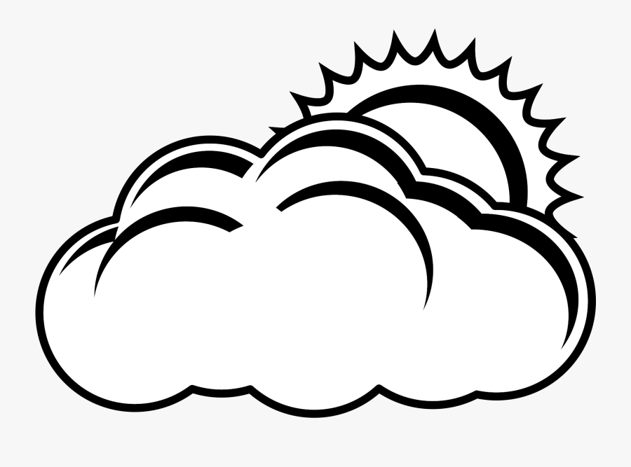 Partly Cloudy Clipart Black And White, Transparent Clipart