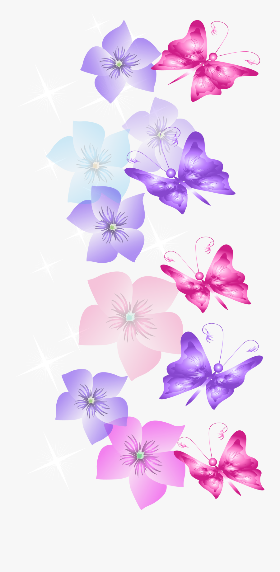 Butterflies And Flowers Decoration Png Clipart - Butterfly Flower Transparent Png, Transparent Clipart