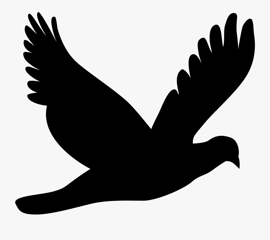 Silhouette,monochrome Photography,bird - Flying Dove Silhouette, Transparent Clipart