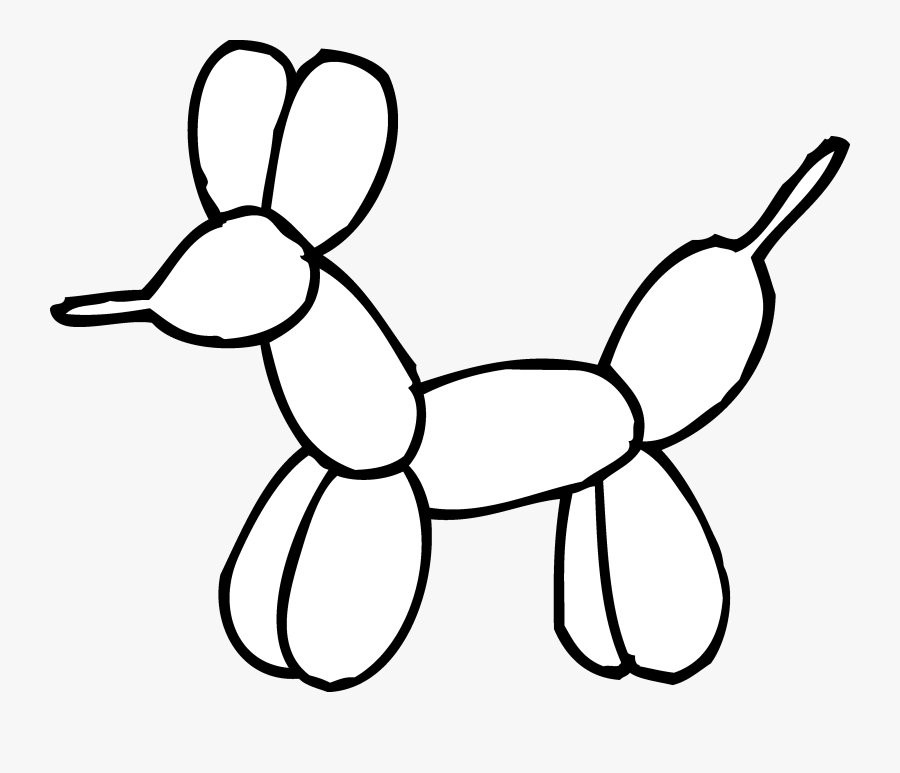 Balloon Animal Coloring Page - Easy Balloon Animal Drawing, Transparent Clipart