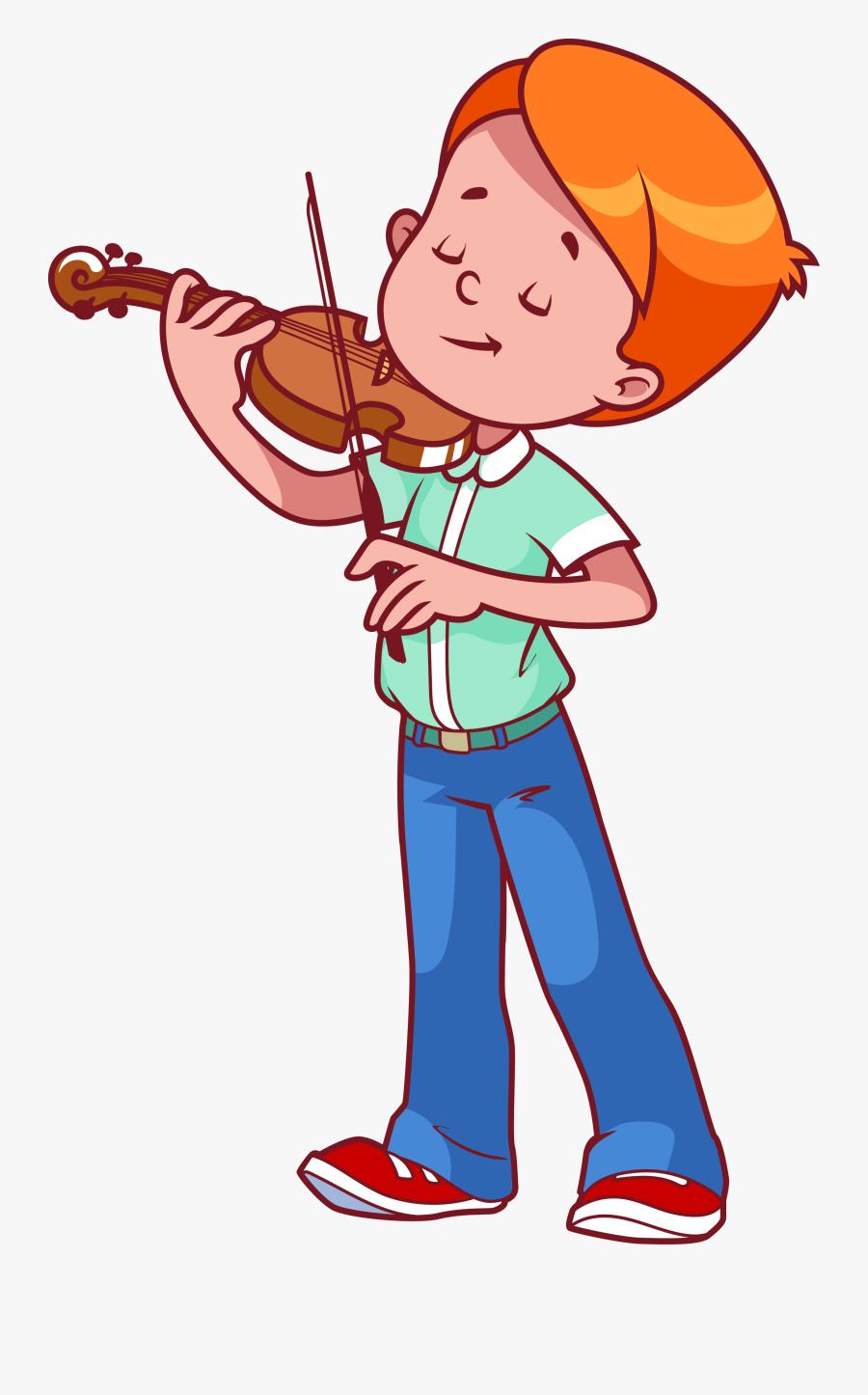 Transparent Instruments Clipart - Boy Playing Violin Clipart, Transparent Clipart