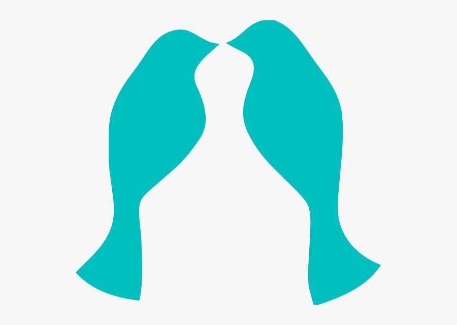 Love Birds Teal Clip Art - Silhouette Wedding Birds Kissing, Transparent Clipart