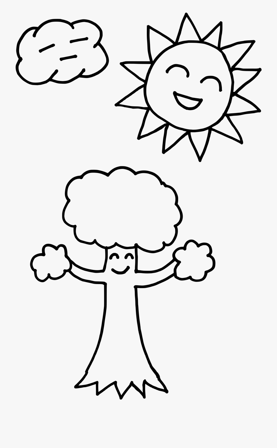 Happy Sun Drawing At - Coloring Pages Of Trees And Sun, Transparent Clipart