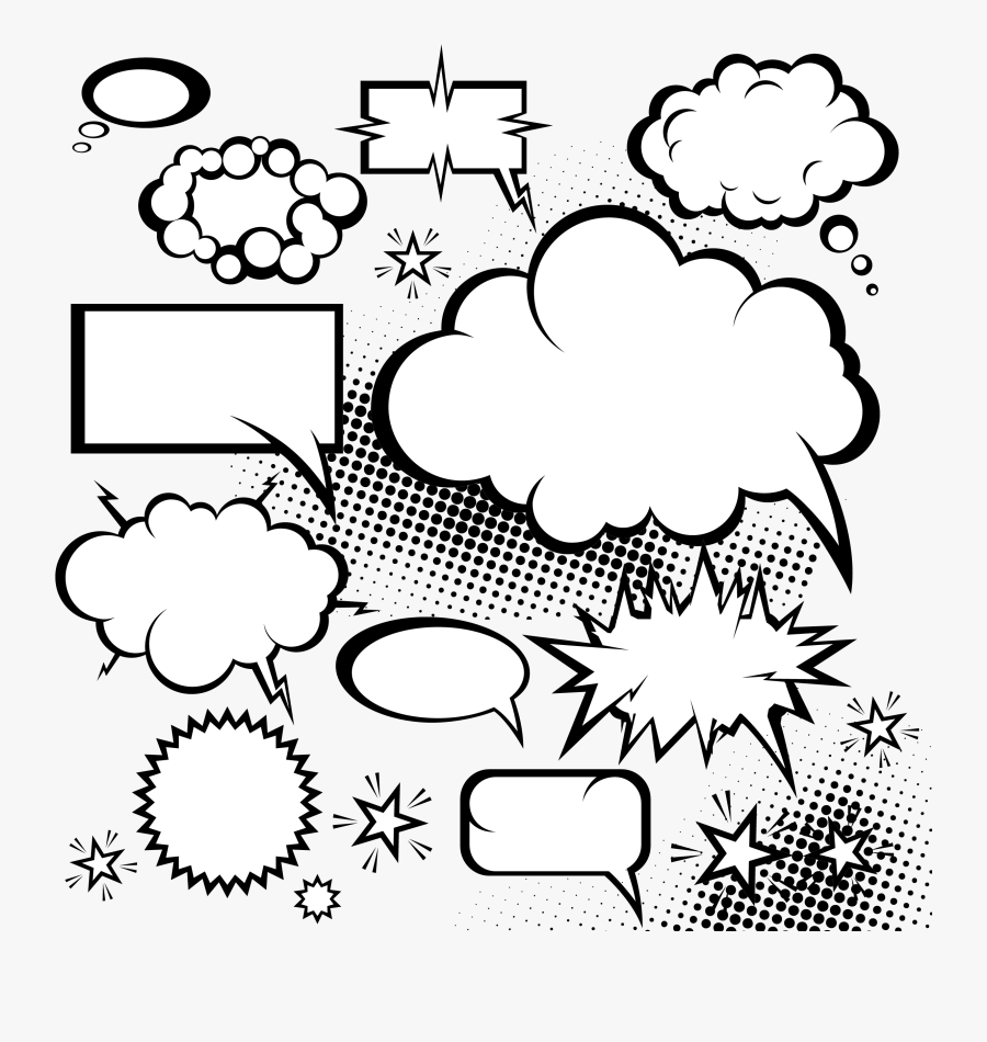 Speech Balloon Comic Book Dialogue Cloud Explosion - Bubbles Comics, Transparent Clipart