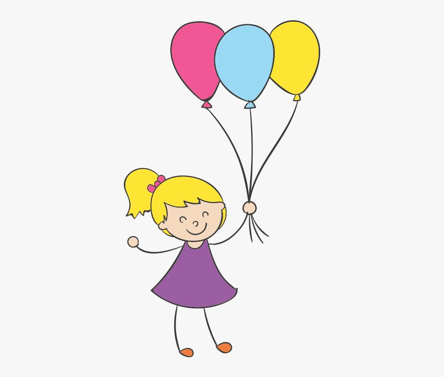 Cartoon Clip Art Little - Cartoon Girl With Balloon, Transparent Clipart
