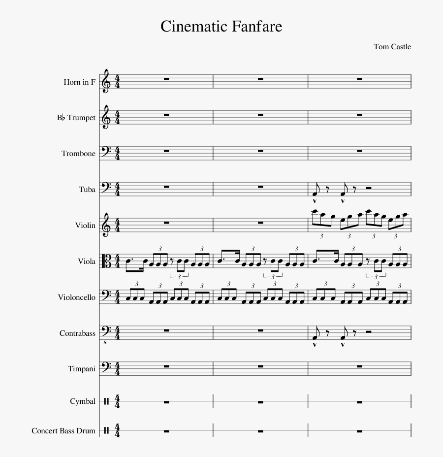 Cinematic Fanfare Sheet Music For Violin, French Horn, - Sheet Music, Transparent Clipart