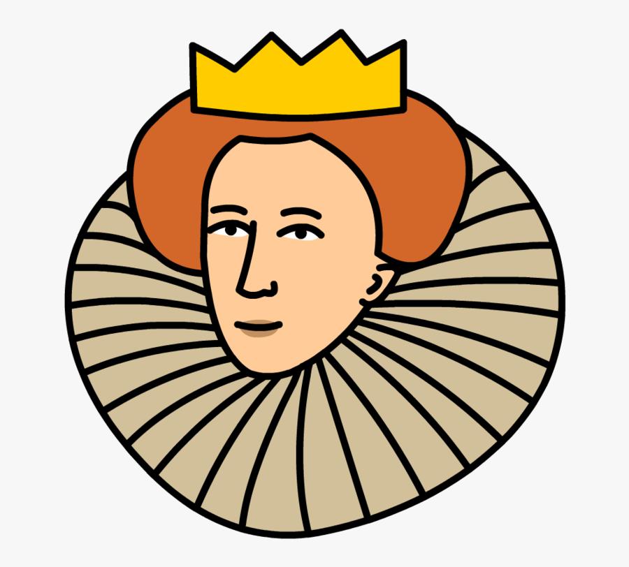 Queen Clipart Head - Cartoon Queen Elizabeth 1, Transparent Clipart
