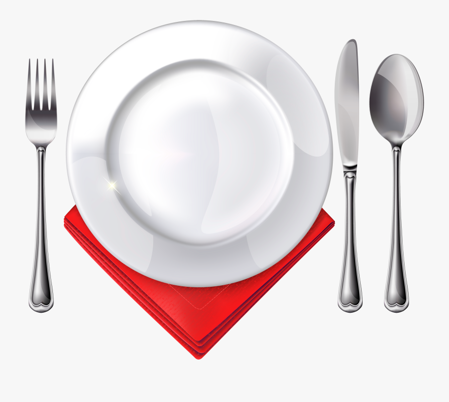 Plate Spoon Knife Fork And Red Napkin Png Clipart - Plate Fork Spoon Png, Transparent Clipart