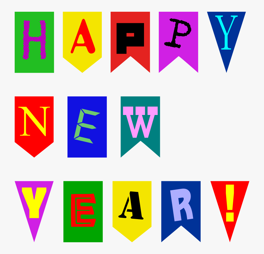 Happy New Year Letter Banner Printable, Transparent Clipart