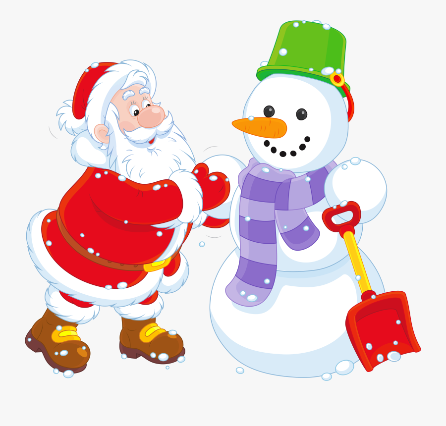 Snowman Clipart Santa - Winter Snow Christmas Santa, Transparent Clipart