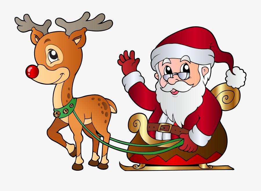 Santa And Rudolph Png Clipart Image - Rudolph And Santa Clip Art, Transparent Clipart