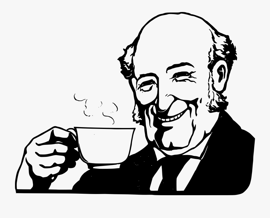 People Drinking Coffee Clipart - Man Drinking Coffee Drawing, Transparent Clipart