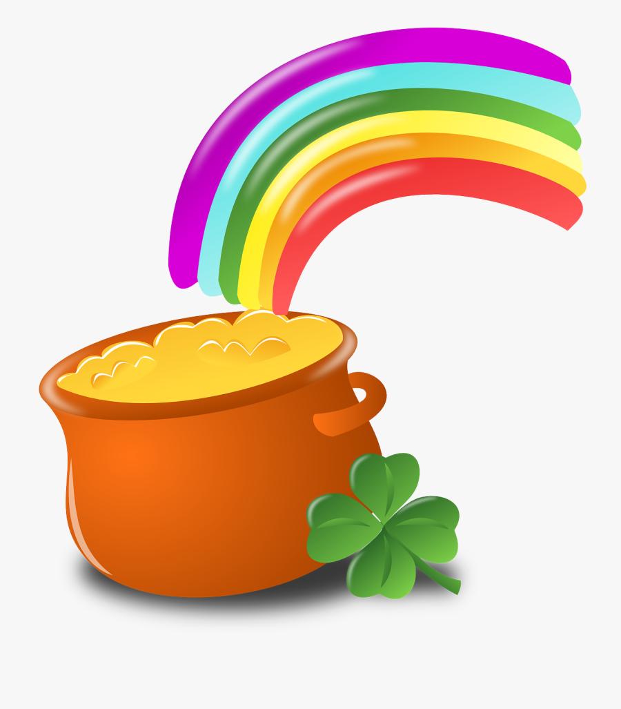 Luck, Rainbow, Gold, Pot, Four-leaf Clover, Shamrock - St Patricks Day Clipart Transparent, Transparent Clipart