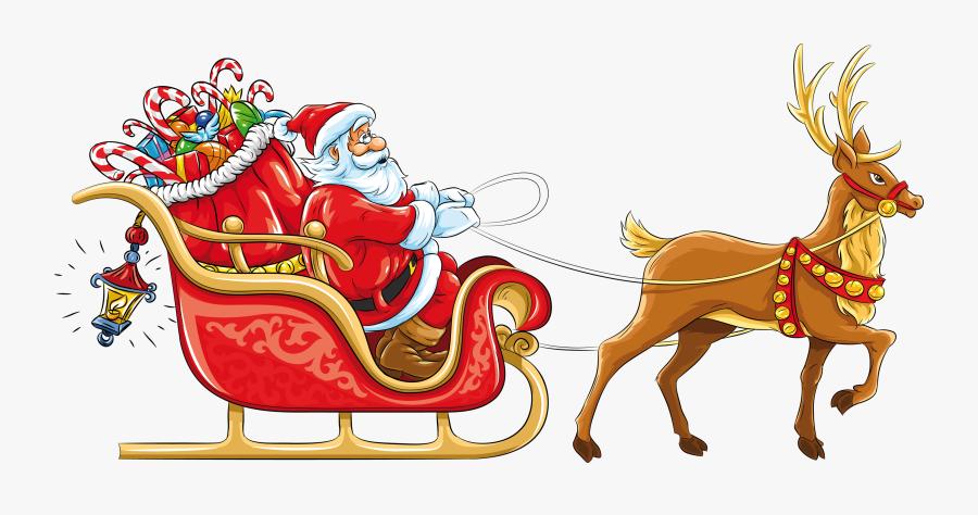 Clip Art Santa Claus And Sleigh - Santa Claus With Sleigh, Transparent Clipart