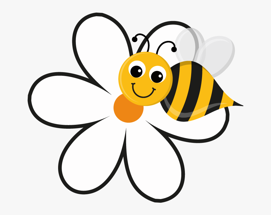 Free Flower Bee Cliparts - Cartoon Bee On Flower, Transparent Clipart