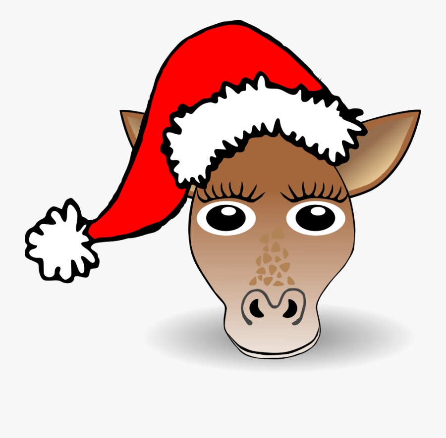 Funny Giraffe Face Cartoon With Santa Claus Hat - Christmas Hat Clipart Png, Transparent Clipart