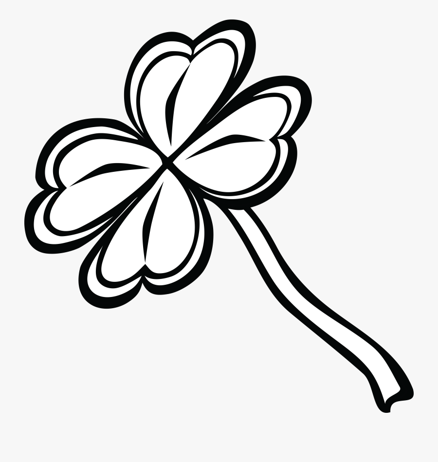 """Free Clipart Of A Black And White St Paddy""""s Day - Four-leaf Clover, Transparent Clipart"""