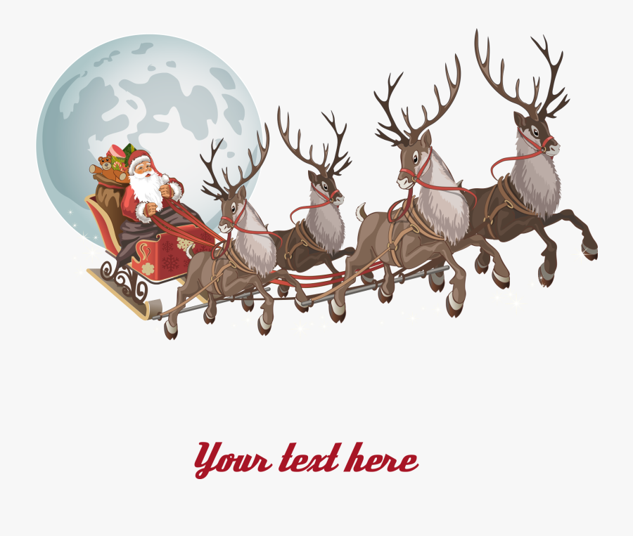 And Parade Claus Reindeer Santa Christmas Clipart - Transparent Background Santa Sleigh Png, Transparent Clipart