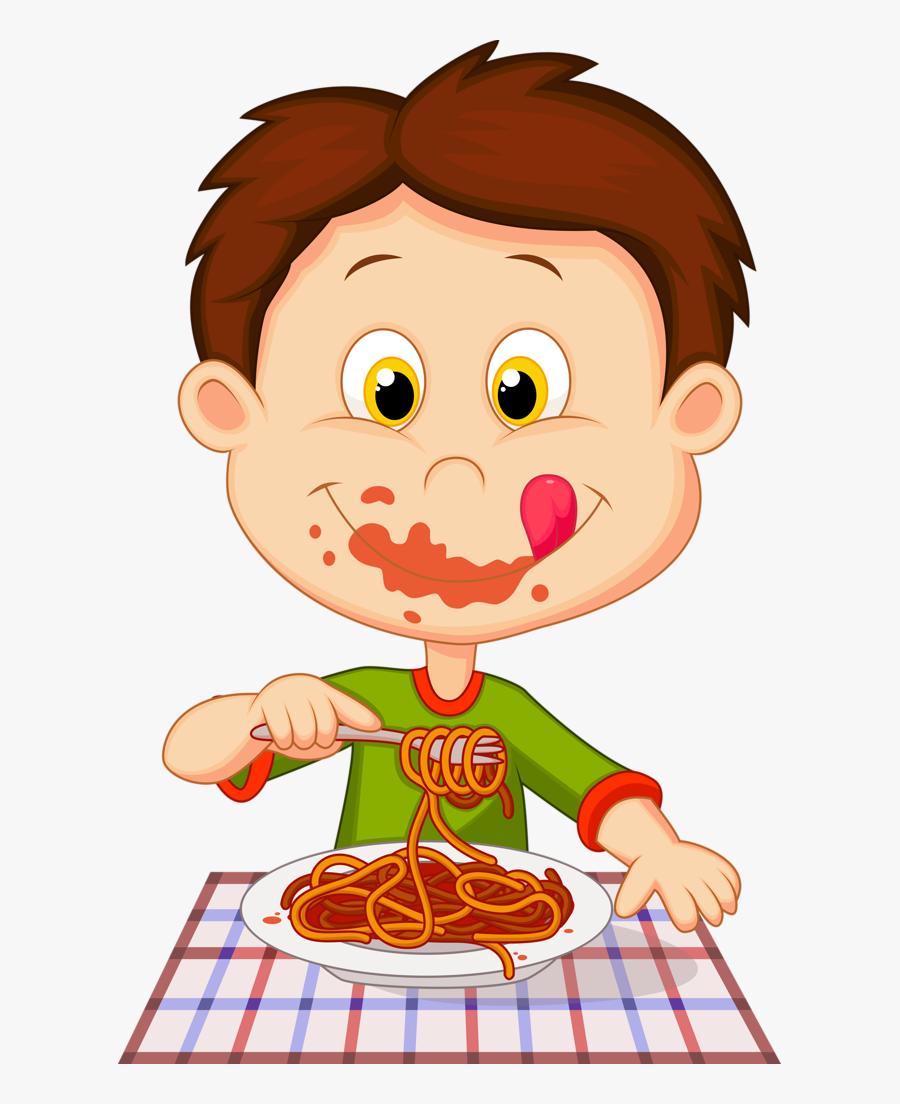 Cute Clipart, Preschool Crafts, Kindergarten Activities, - Boy Eating Spaghetti Clipart, Transparent Clipart