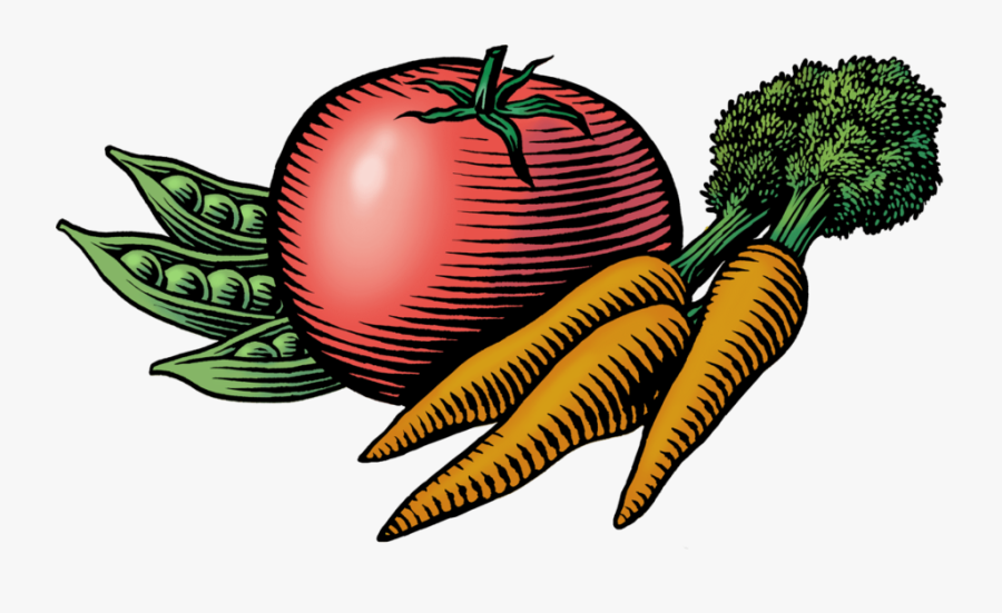 Woodcut Illustration Of Tomato, Peas, And Carrots - Farmers Market Images Clip Art, Transparent Clipart