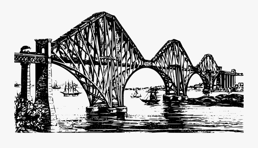 Bridge,cantilever Bridge,monochrome Photography - Drawing Forth Rail Bridge, Transparent Clipart