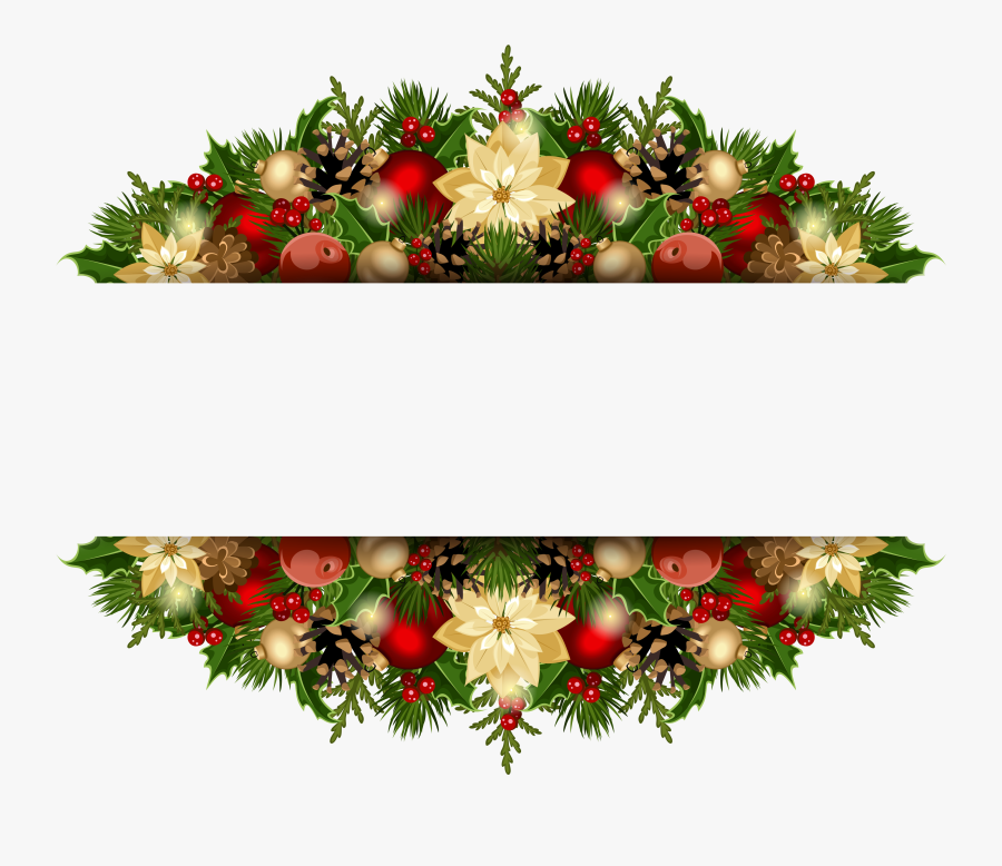Transparent Christmas Holly Clipart - Christmas Decorations Design Border, Transparent Clipart