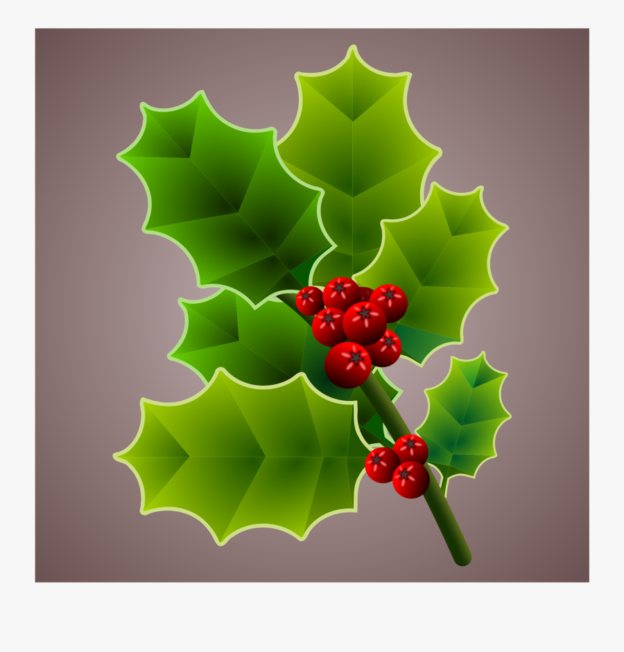 Holly Clipart Holly Branch - American Holly, Transparent Clipart