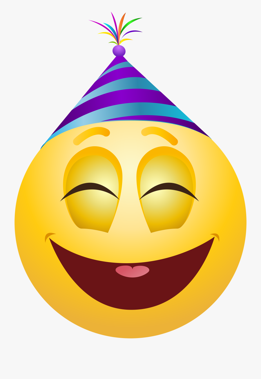 Party Emoticon Png Clip Art - Party Hat Emoji Face, Transparent Clipart