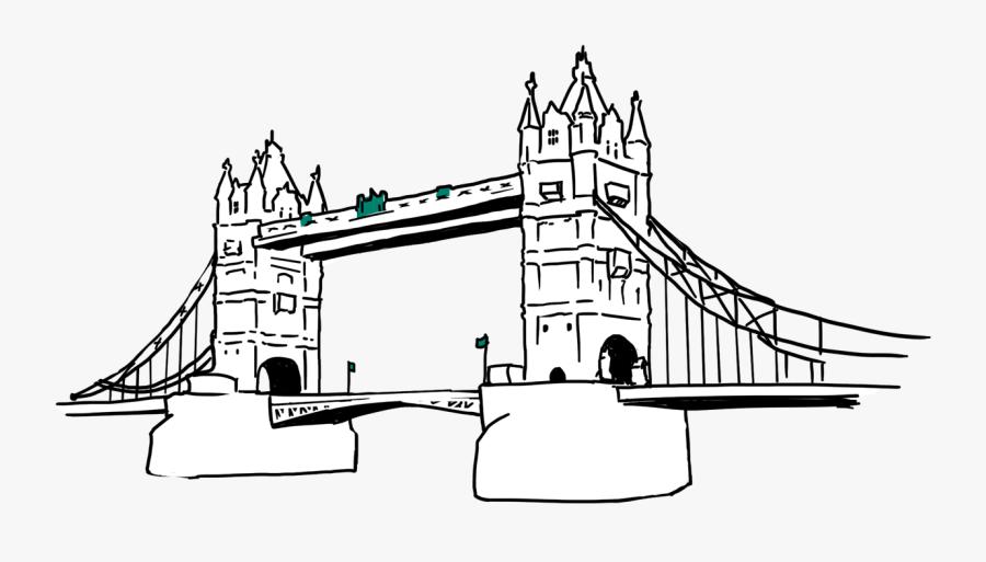 Line Art Clipart , Png Download - Drawing Tower Bridge, Transparent Clipart
