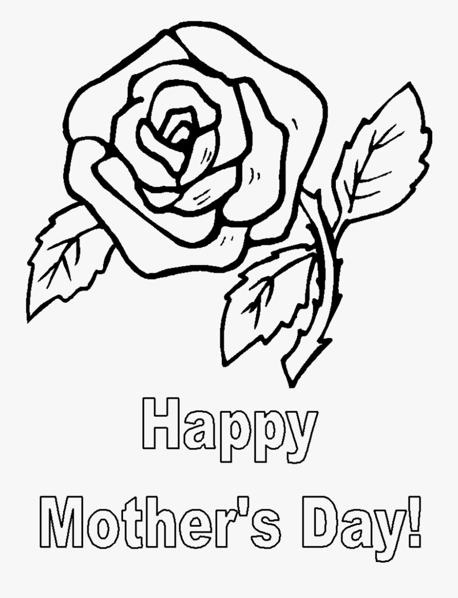 """Graphic Library Stock 2017 Drawing Mother""""s Day - Mother's Day Rose Coloring Pages, Transparent Clipart"""