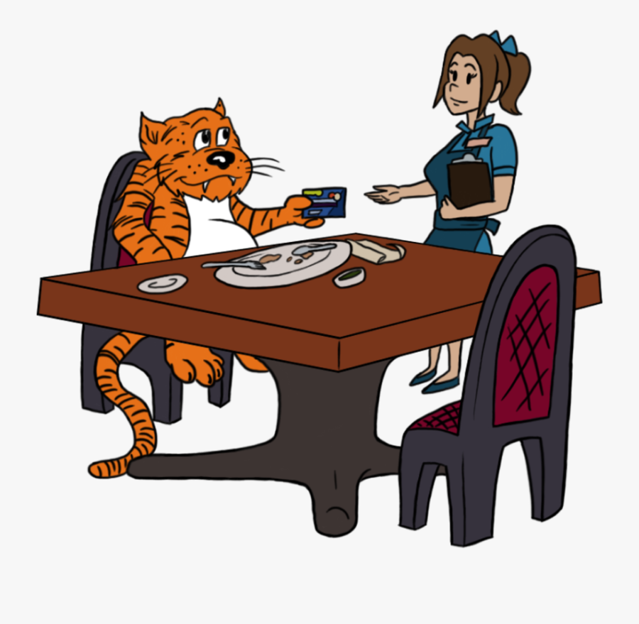 Transparent Restraunt Clipart - Tigers Eating Table Cartoon, Transparent Clipart