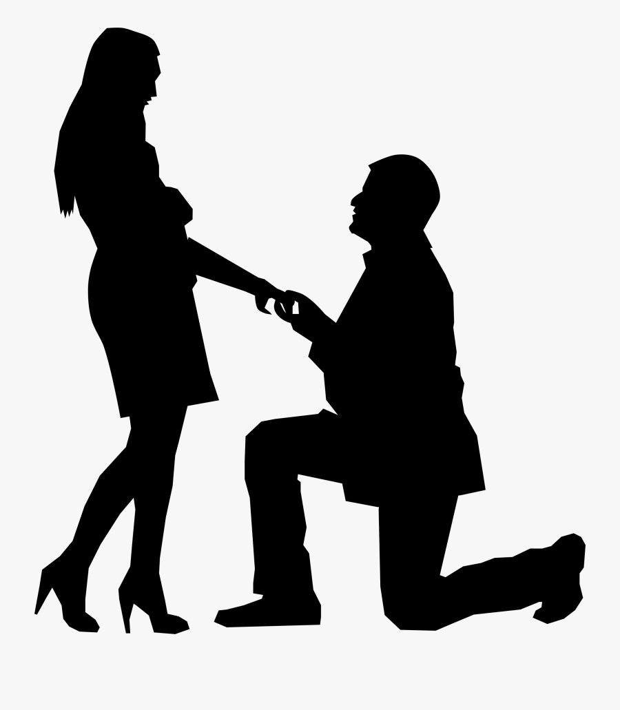 Standing,human Behavior,silhouette - Man On One Knee Proposing, Transparent Clipart