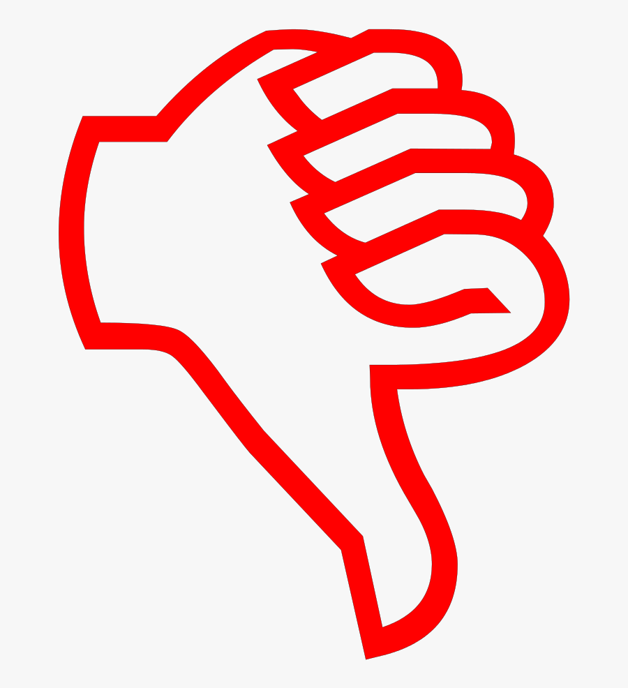 Thumbs Down Red - Cartoon Thumbs Down Transparent Background, Transparent Clipart